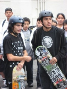 Students at Le Conte Middle School Skatepark